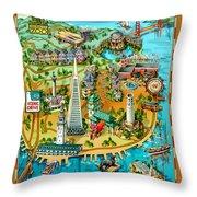 San Francisco Illustrated Map Throw Pillow