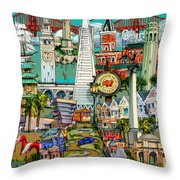 San Francisco Illustration Throw Pillow