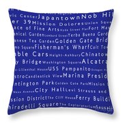 San Francisco In Words Blue Throw Pillow by Sabine Jacobs