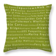 San Francisco In Words Olive Throw Pillow