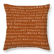 San Francisco In Words Toffee Throw Pillow