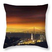 San Francisco Oakland Bay Bridge At Sunset Throw Pillow