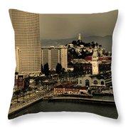San Francisco Pier From The Bridge Throw Pillow