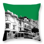 San Francisco Skyline Cable Car 2 - Forest Green Throw Pillow