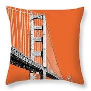 San Francisco Skyline Golden Gate Bridge 2 - Coral Throw Pillow