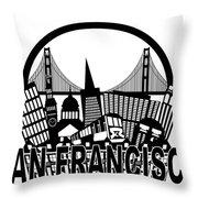 San Francisco Skyline Golden Gate Bridge Black And White Illustr Throw Pillow