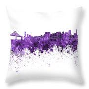 San Francisco Skyline In Purple Watercolor On White Background Throw Pillow