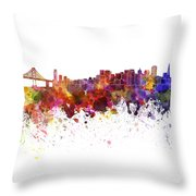 San Francisco Skyline In Watercolor On White Background Throw Pillow