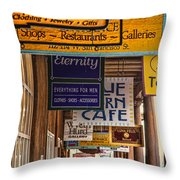 San Francisco Street Shops Throw Pillow
