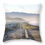 San Francisco Morning - The Great Highway Ocean Beach Throw Pillow