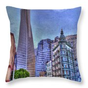 San Francisco Transamerica Pyramid And Columbus Tower View From North Beach Throw Pillow