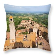 San Gimignano From The Top Of A Tower Throw Pillow