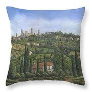San Gimignano Tuscany Throw Pillow by Richard Harpum