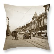 94-095-0001 Early Knox Automobile First Street San Jose California Circa 1905 Throw Pillow