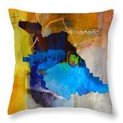 San Jose Map And Skyline Throw Pillow