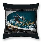 San Jose Sharks Christmas Throw Pillow