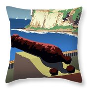San Juan National Historic Site Vintage Poster Throw Pillow