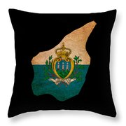 San Marino Grunge Map Outline With Flag Throw Pillow