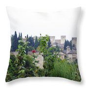 San Nicolas View Of The Alhambra On A Rainy Day - Granada - Spain - Spain Throw Pillow