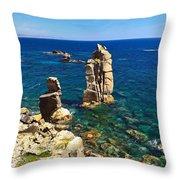San Pietro Island - Le Colonne Cliff Throw Pillow