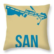 San San Diego Airport Poster 3 Throw Pillow