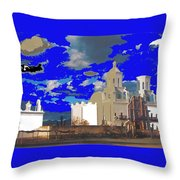 San Xavier Mission Brooding Clouds Post Card Ray Manley  Photo No Date-2013  Throw Pillow
