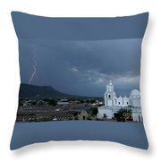 San Xavier Mission With Lightning Throw Pillow