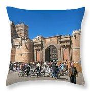 Sanaa Old Town Busy Street In Yemen Throw Pillow