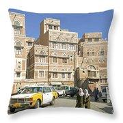 Sanaa Old Town In Yemen Throw Pillow