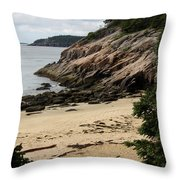 Sand Beach Acadia Park Throw Pillow
