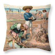 Sand Castles At The Beach Throw Pillow