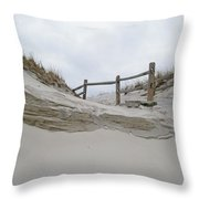 Sand Dune And Fence Throw Pillow