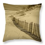 Sand Dunes And Fence Throw Pillow