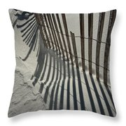 Sand Fence During Winter On The Beach Throw Pillow