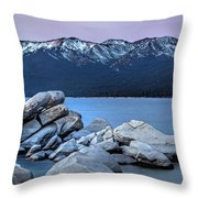 Sand Harbor Rocks Throw Pillow