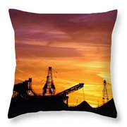 Sand Pit Silhouette  Sunset With Red And Yellow Sky Throw Pillow