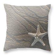 Sand Prints And Starfish II Throw Pillow