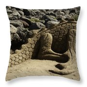 Sand Sculpture Dragon With Flaming Nostrils Throw Pillow