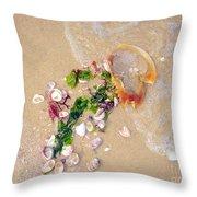 Sand Sea And Shells Throw Pillow