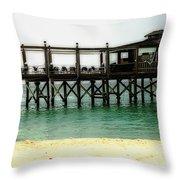 Sandals Resort Nassau Pier Throw Pillow