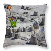 Sandcastle Squatters Throw Pillow by Betsy Knapp