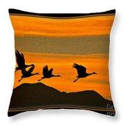 Sandhill Crane At Sunset Throw Pillow