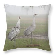 Sandhill Cranes In A Foggy Morning Throw Pillow