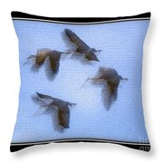 Sandhill Cranes In Flight Throw Pillow