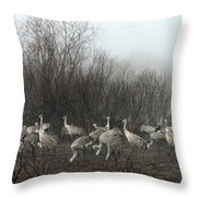 Sandhill Cranes In The Fog Throw Pillow