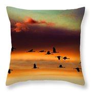 Sandhill Cranes Take The Sunset Flight Throw Pillow
