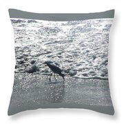 Sandpiper Finds Food In Surf Throw Pillow
