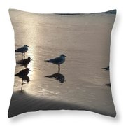 Sandpipers And Seagulls Throw Pillow