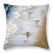 Sandpipers On The Beach Throw Pillow
