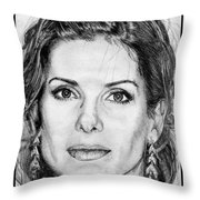 Sandra Bullock In 2005 Throw Pillow by J McCombie